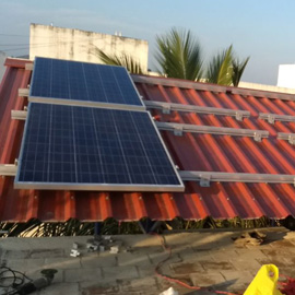 Metal sheet roof solar module mounting system